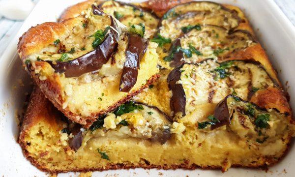 Torta salata con melanzane e farina di lupini