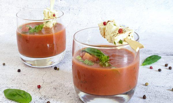 Gazpacho semplice con primosale marinato