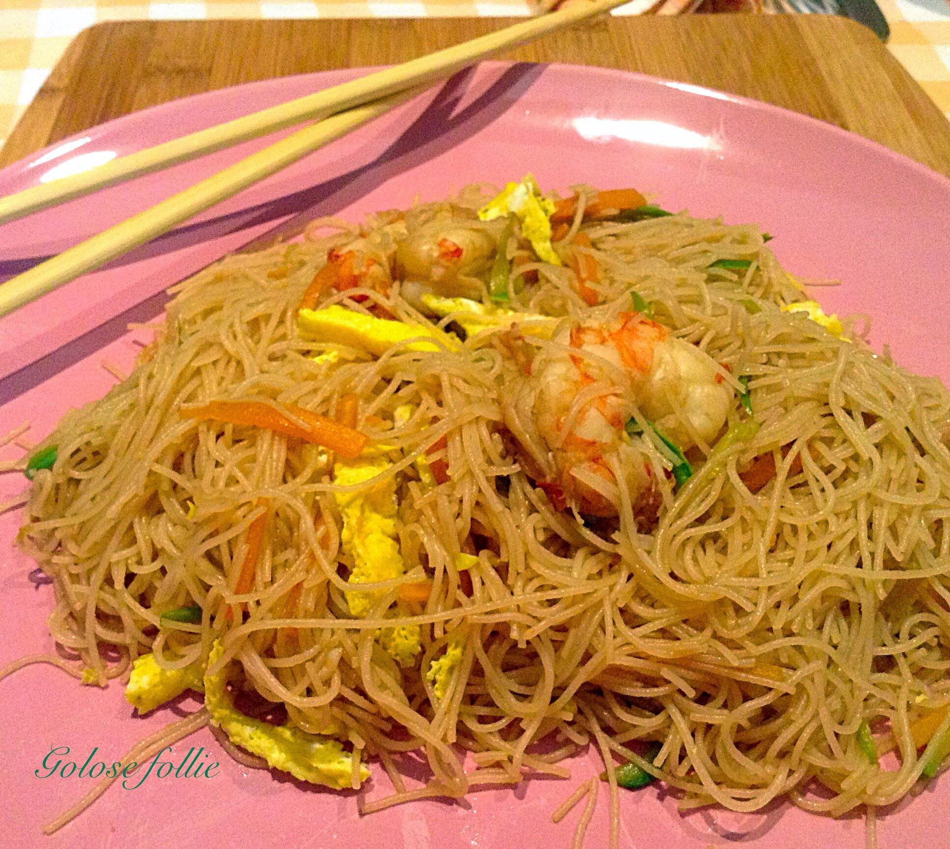 Ricetta spaghetti cinesi gamberi e verdure ricette for Gamberi alla piastra cinesi