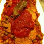 pisellini al sugo con Carne rossa