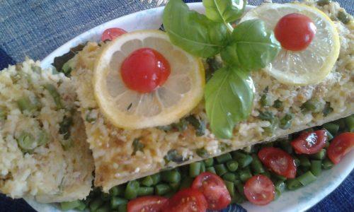 Plumcake di riso freddo profumato al limone e basilico con tonno e fagiolini