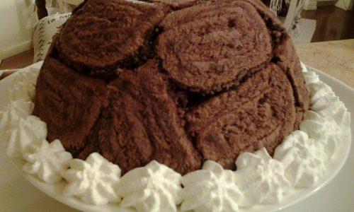 Zuccotto gelato con girelle  al cioccolato
