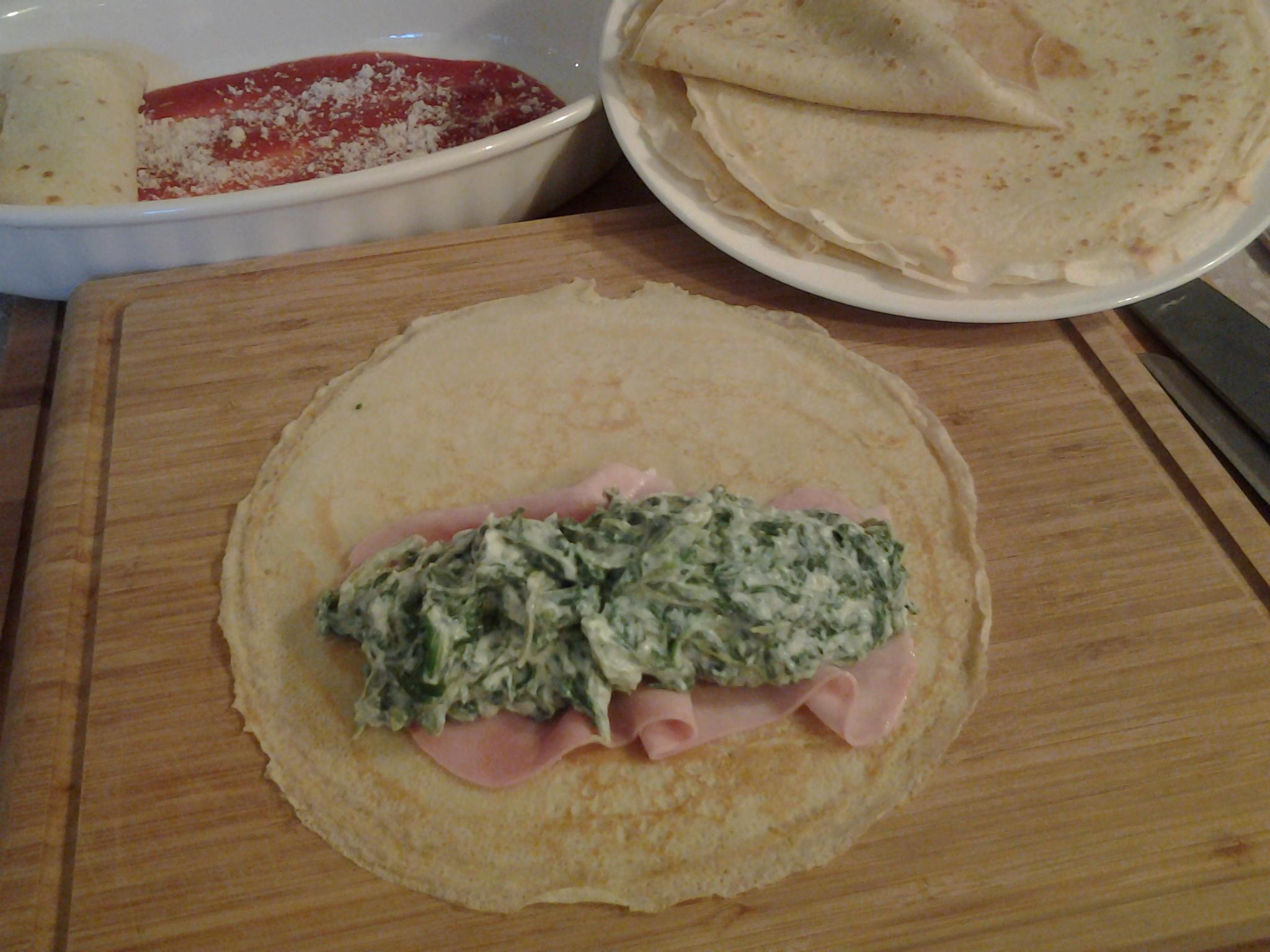 Crespelle ripiene con ricotta e spinaci