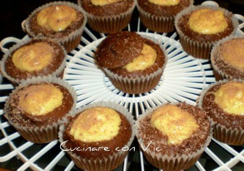Muffins cioccoricottosi con crema all'arancia