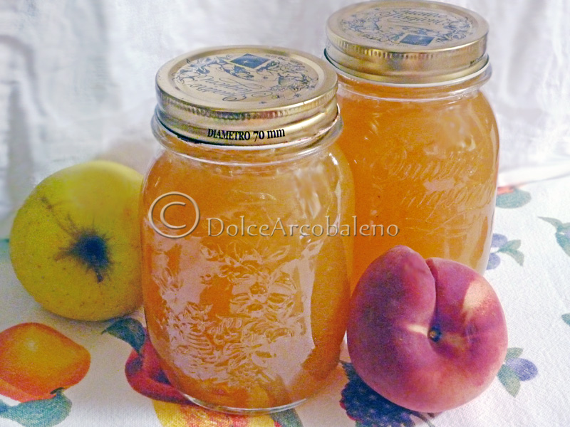 Marmellata di mele e pesche bianche, conserve casalinghe, by Dolcearcobaleno.