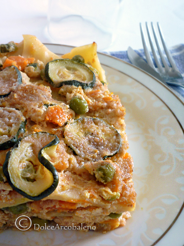 Lasagna zucca zucchine piselli e ricotta by Dolcearcobaleno