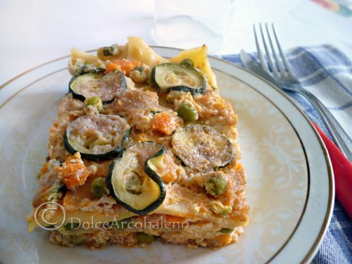 Lasagna zucca zucchine piselli e ricotta