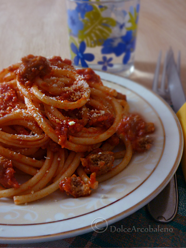 Bucatini all'amatriciana vegetariani By Dolcearcobaleno