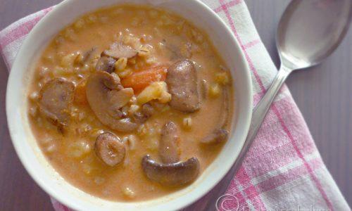 Zuppa di funghi e cereali