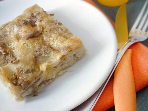 Lasagna artichokes mushrooms and mozzarella