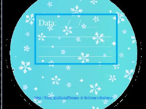 Etichetta natalizia tonda fiocco di neve
