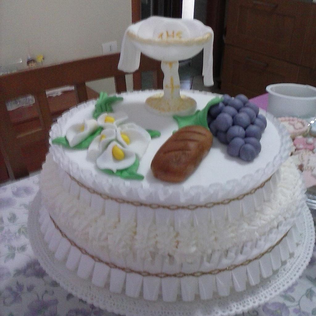 Conosciuto Torta decorata in pasta di zucchero,per prima comunione. IQ99
