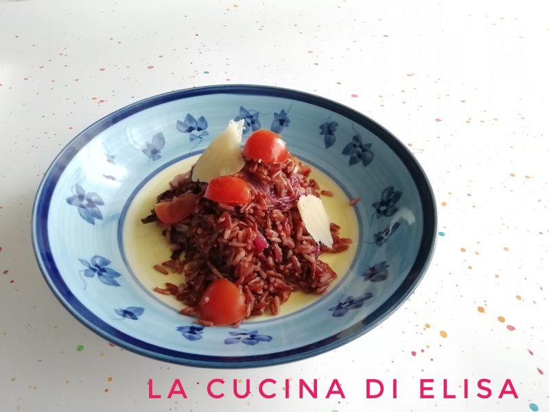 riso integrale con radicchio e pomodorini
