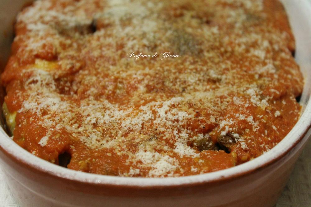 Involtini di melanzane con prosciutto e mozzarella