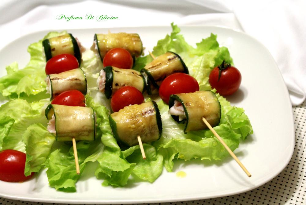 Spiedini di zucchine grigliate