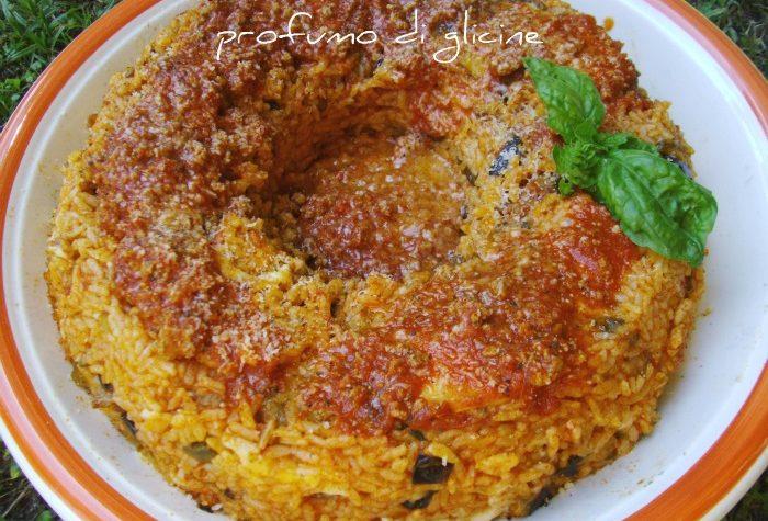 Savarin di riso con salsiccia e melanzane – Timballo di riso