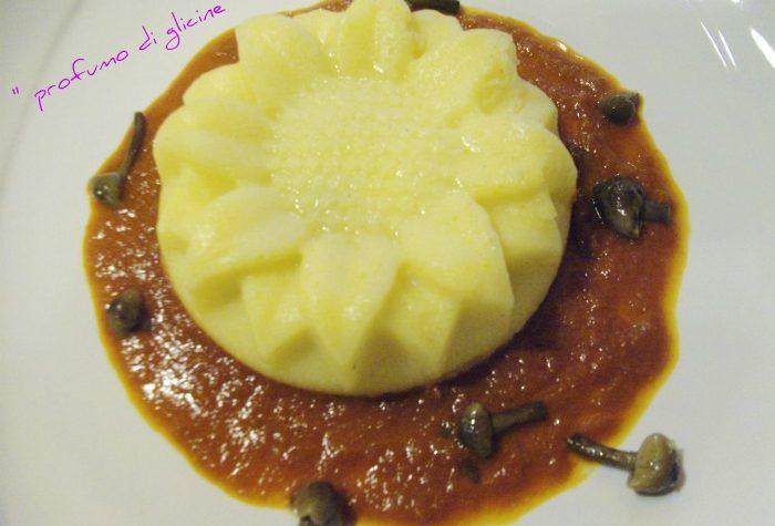 Girasoli di polenta con cuore di provola salamino e funghi