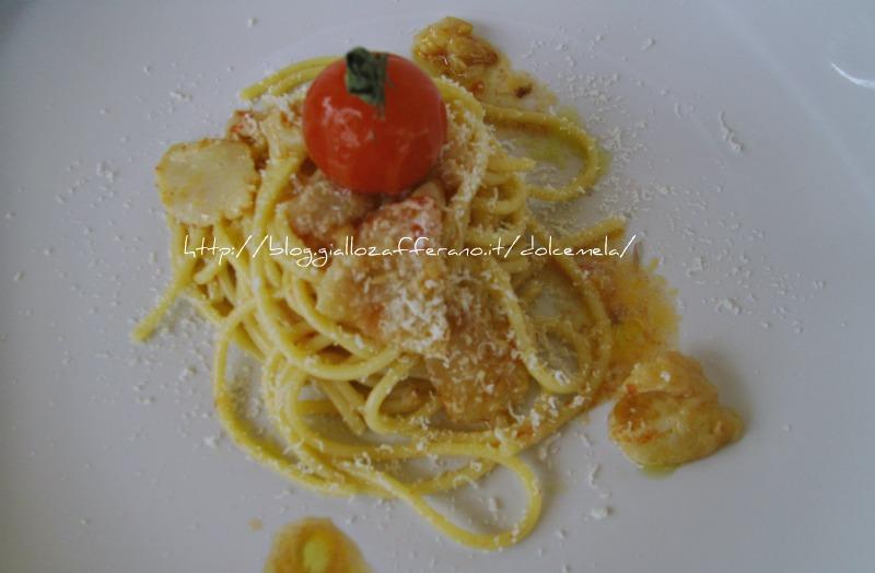 spaghetti al baccala e provolone del monaco