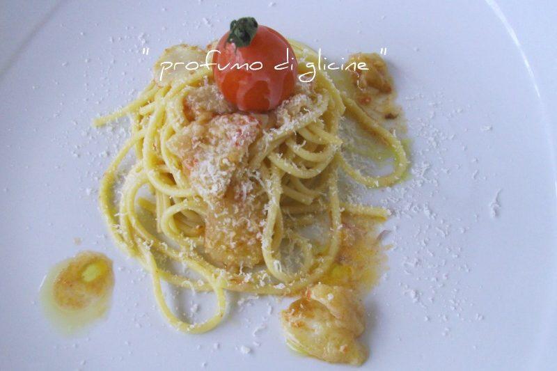Spaghetti al baccalà e provolone del monaco