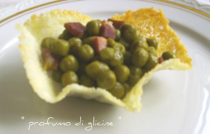 Piselli in cialda di parmigiano