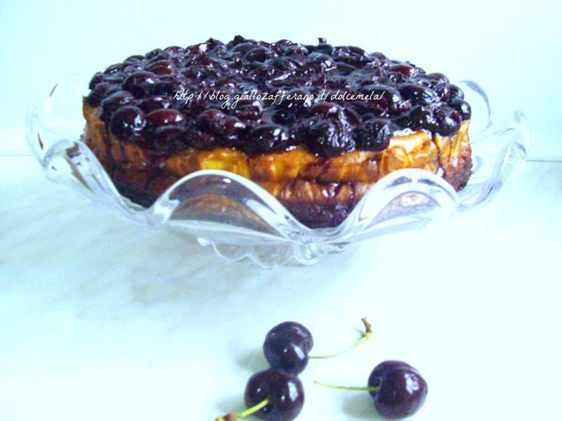New York cheesecake alle ciliege ricetta rivisitata da profumo di glicine