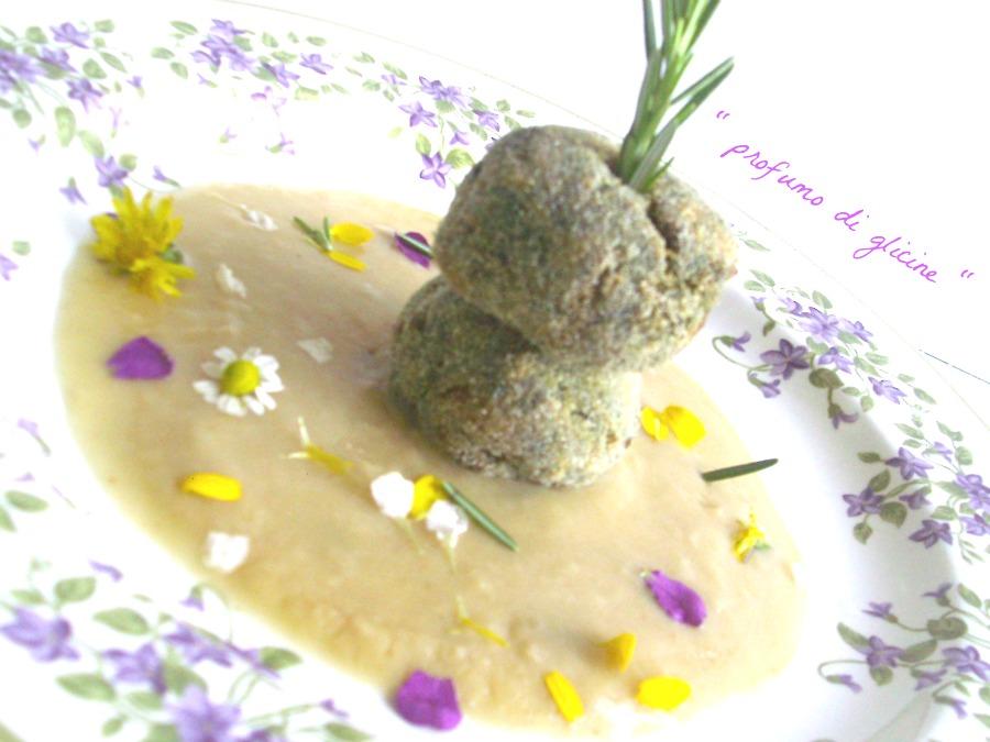 Polpette di cicoria di campo e salsiccia in crema di ceci ricetta di verdure da profumo di glicine