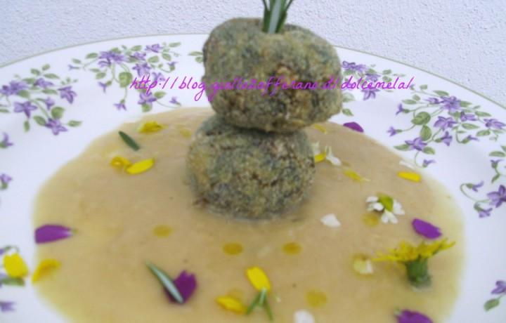 Polpette di cicoria di campo e salsiccia in crema di ceci