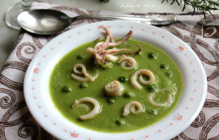 Riccioli di calamari su crema di piselli – ricetta light