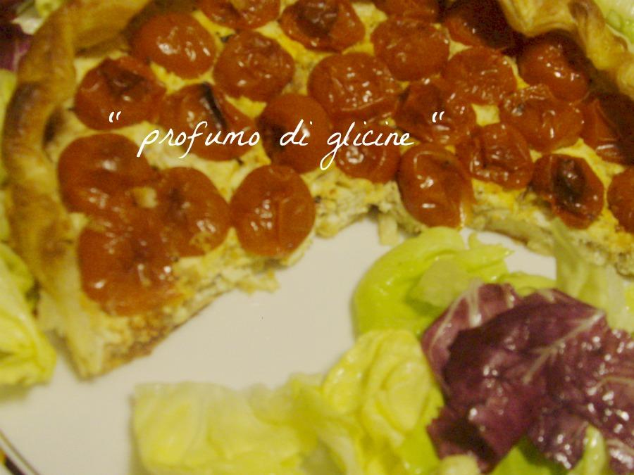 Crostata con pomodorini e tonno da profumo di glicine