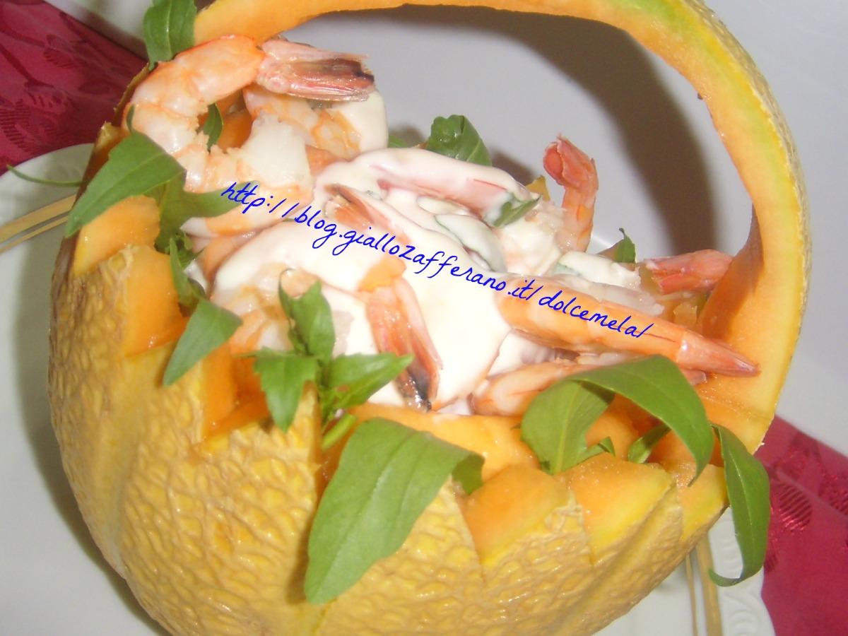 Cocktail di gamberi e melone con salsa allo yogurt e zenzero ricetta light