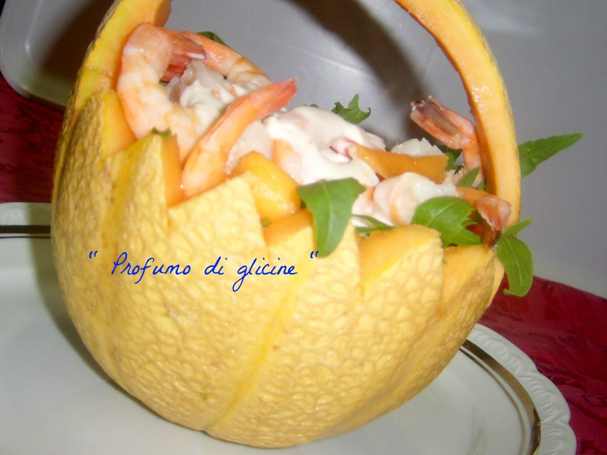Cocktail di gamberi e melone con salsa allo yogurt e zenzero