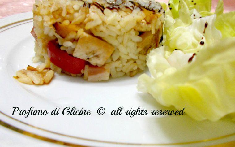 Insalata di riso con pollo e peperoni