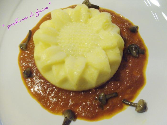 girasoli di polenta con cuore di provola, salamino e funghi nella cucina di profumo di glicine