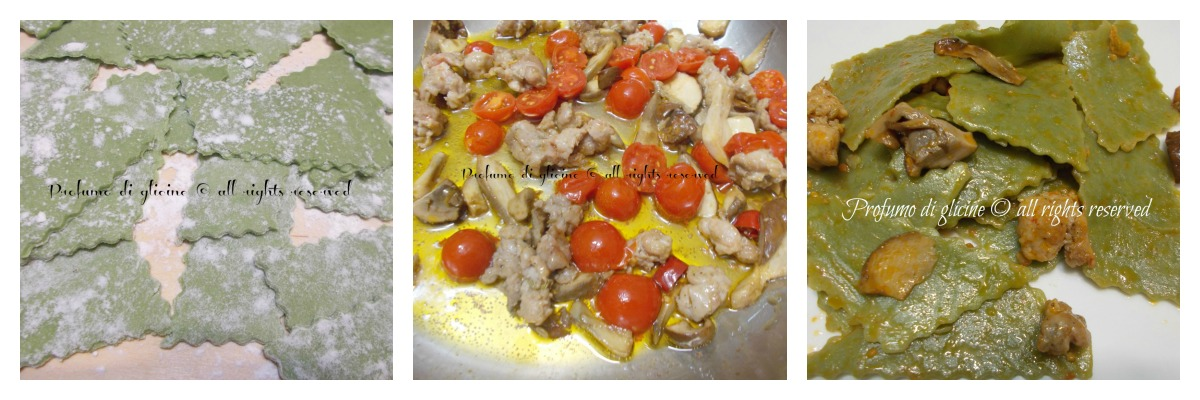 i maltagliati alle ortiche con funghi salsiccia e pomodorini del pendolo