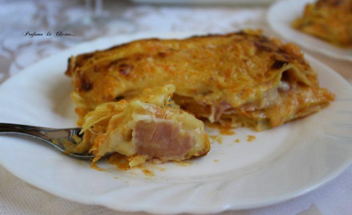 Lasagne cremose con prosciutto cotto e zucca