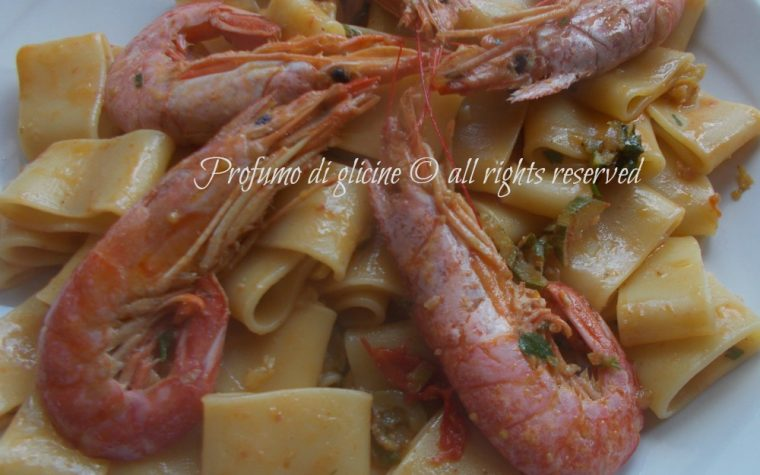 Calamarata con zucchine e gamberoni
