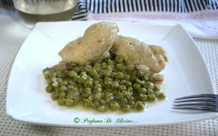 Involtini di pollo con piselli e pancetta