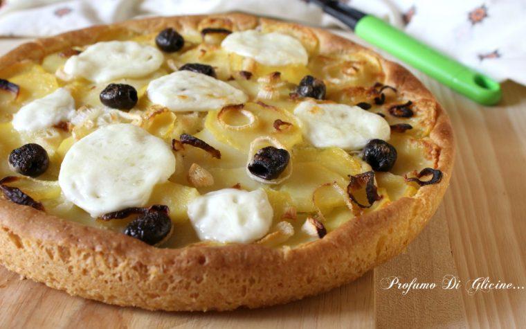 Focaccia con patate e cipollotti ~ ricetta con lievito madre