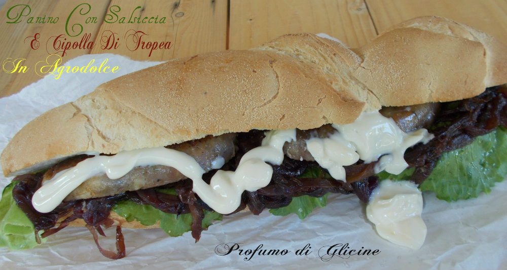 salsicce con cipolle in agrodolce