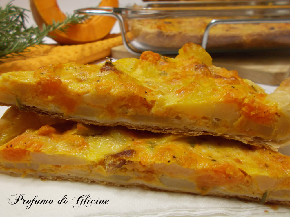 torta salata patate e zucca