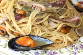 Linguine con carciofi cozze e calamari
