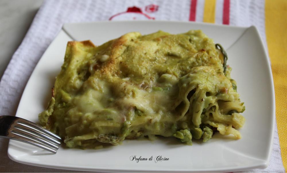 Lasagne light con asparagi e piselli