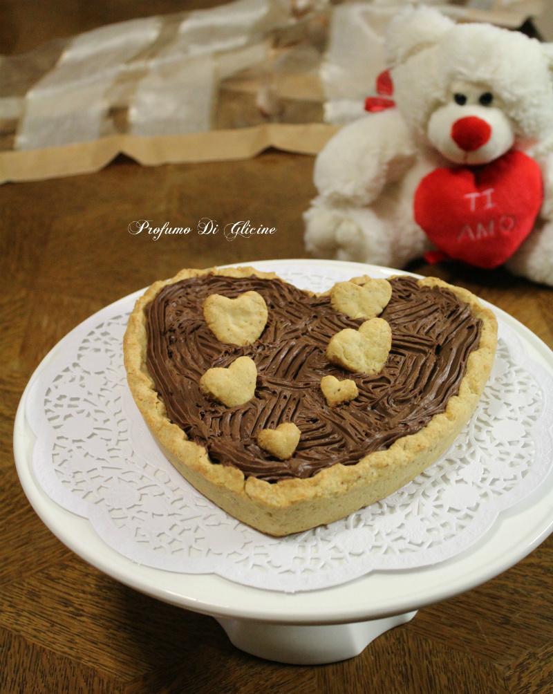 Crostata cuore al cioccolato