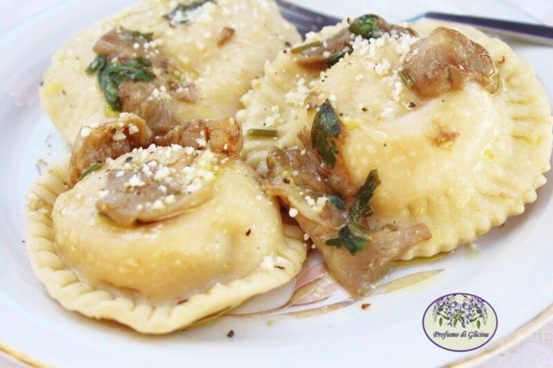 Margherite di zucca e patate al sugo di funghi porcini