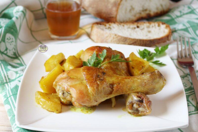 Pollo con patate allo zafferano