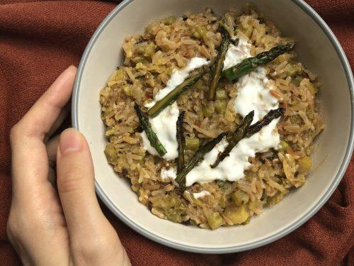 Risotto integrale agli asparagi e verza
