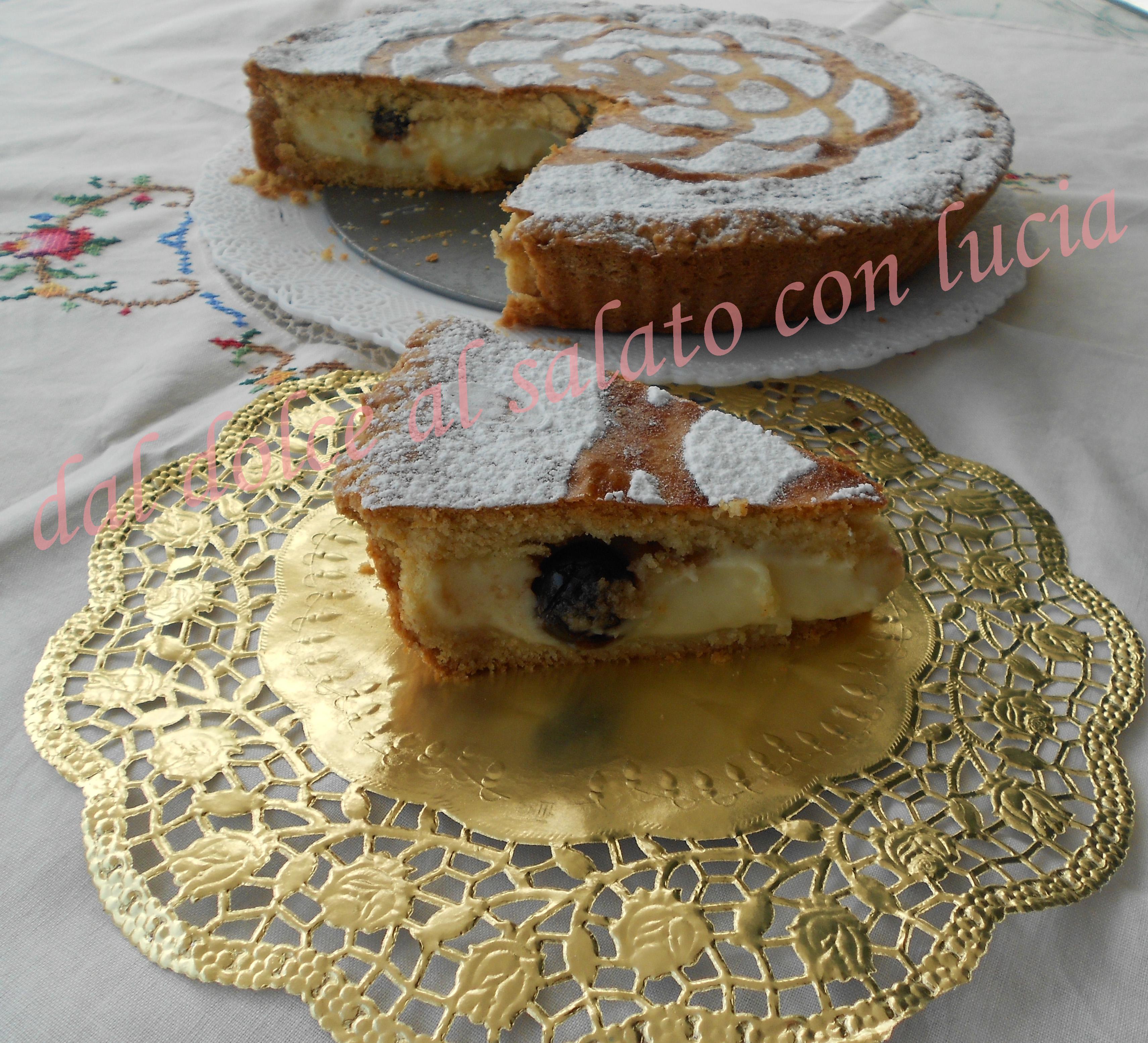Torta pasticciotto con crema ed amarene