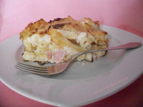 Pasta al forno bianca al gratin