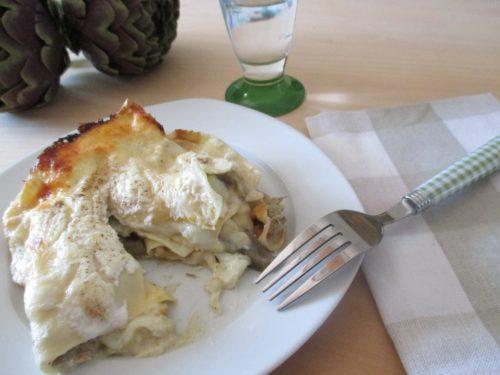 Lasagne vegetariane ai carciofi e formaggi