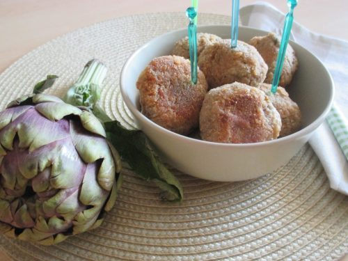 Polpette vegetariane di carciofi al forno